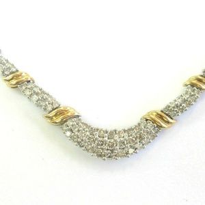 Jewelry - Natural Round Diamond 2-Tone Gold Cluster Necklace
